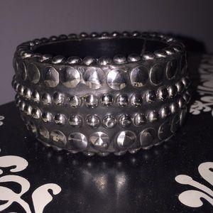 Black Silver Studded Bangle